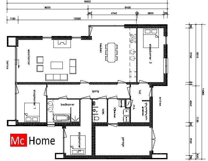 Moderne bungalow b20 mchome for Grondplannen woningen