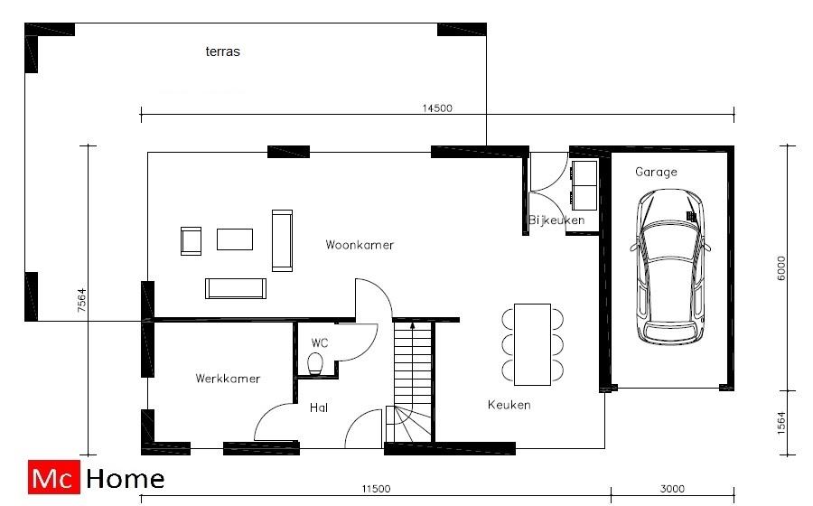 moderne kubistische villa in staalframebouw M24 - McHome